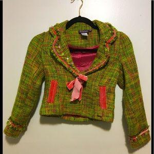Vintage Bianni 15% Wool Green/Pink Girls Blazer